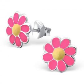 Zilveren kinder oorbellen 'bloem/roze'
