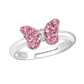 Lief zilveren kinder ringetje 'vlinder'