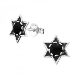 Zilveren kinder oorbelletjes 'ster/zwart'