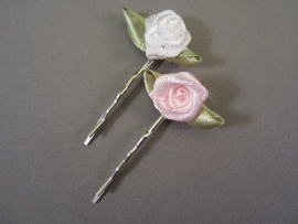 Haarschuifje met roosje (wit en roze)
