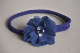 Baby haarbandje blauw 'bloem/parel'
