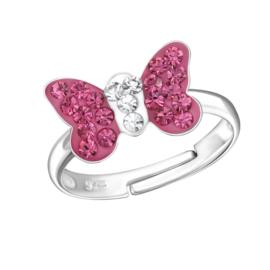 Zilveren kinder ringetjes vlinder 'fucshia'