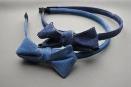 Haarband dubbele strik 'denim'
