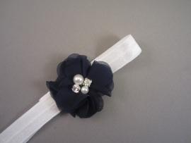 Baby/ peuter haarbandje wit met blauw chiffon bloemetje