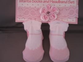 Sokje ballerina + bijpassend haarbandje 'roze'