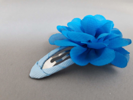 Haarspeldje met chiffon bloem (blauw)