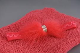 Set van omslagdoek + bijpassend haarbandje (koraal)