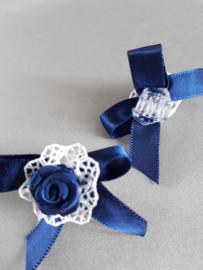 Haarklemmetje met strikje  (blauw/wit)