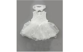 Baby jurkje 'wit' tule (incl haarbandje)