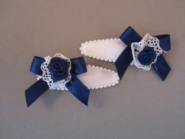 Haarknipje wit/blauw strikje