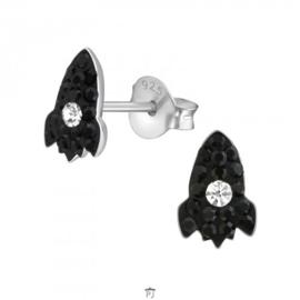 Zilveren kinder oorbelletjes 'ruimteschip'