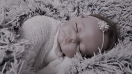 Newborn set wrap + bijpassend haarbandje 'ivoor'