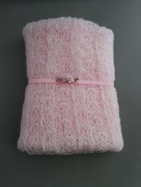 Set newborn wrap + bijpassend haarbandje 'roze'