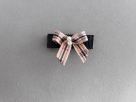 Baby klittenband haarspeldje 'zwart/ruitstrikje'