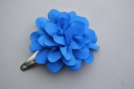 Kinder haarknipje met chiffon bloem 'kobalt'