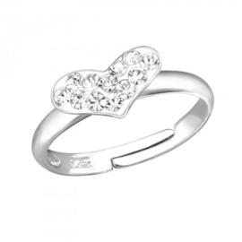 Zilveren kinder ringetje 'hart'