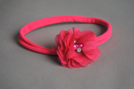 Baby haarbandje fuchsia 'bloem/parel'