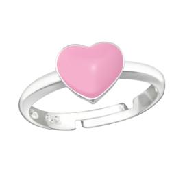 Zilveren kinder ringetje 'roze hartje'