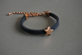 Leren armandje 'little star/ navy'
