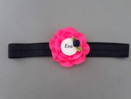 Haarbandje met naam 'donkerblauw/neon roze'