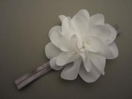 Baby/ peuter haarbandje grijs met grote witte bloem