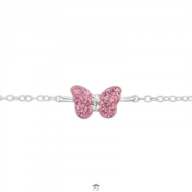 Zilveren kinder armbandje 'vlinder'
