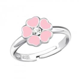 Zilveren kinder ringetje 'bloemetje'