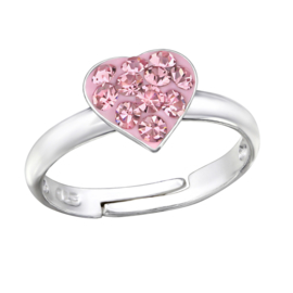 Zilveren kinder ringetje met roze hart