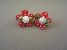 Baby elastiekje rood bloem/roosje