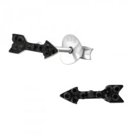 Zilveren kinder oorbelletjes pijl 'zwart'