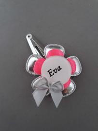 Haarspeldje met naam 'zilver/neon roze'