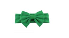 Stoffen Baby/ peuter haarbandje met strik 'groen'