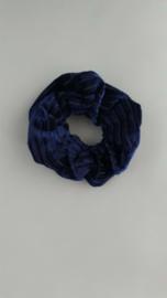 Scrunchie rib fluweel 'blauw'