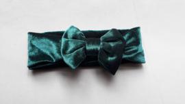 Baby/ peuter haarbandje met strik 'emarald green'