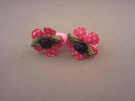 Baby elastiekje 'fuchsia bloem/roosje'