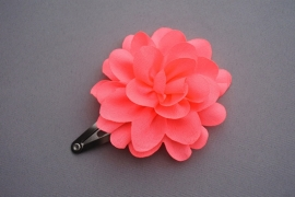 Kinder haarknipje met chiffon bloem 'neon koraal'