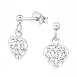 Zilveren oorbelletjes/ oorstekers 'hartje'