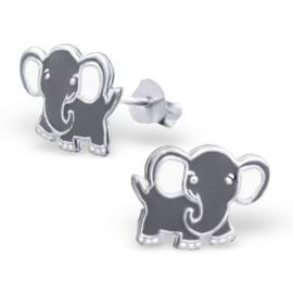 Zilveren kinder oorbellen 'olifant'