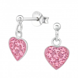 Zilveren oorbelletjes / oorstekers hartje 'roze'