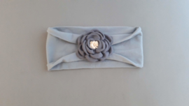 Tricot haarbandje met bloem 'grijs'