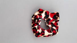 Scrunchie panterprint rood/bruin