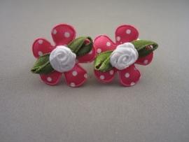Baby elastiekje met fuchsia bloem