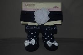 Setje van sokjes met bijpassend haarbandje 'blauw'