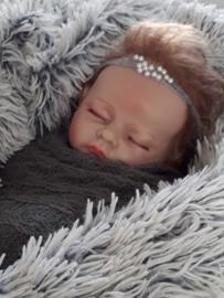 Set newborn wrap + bijpassend haarbandje 'grijs'