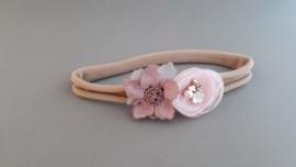Baby haarbandje met dubbele bloem 'roze'
