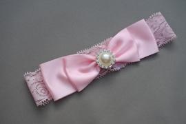 Baby/ peuter kanten haarbandje met strik 'roze'