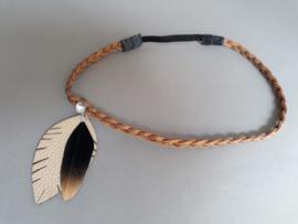 Gevlochten haarbandje  'bruin/goud/zwart'