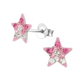 Zilveren kinder oorbelletjes 'ster roze'