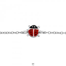 Zilveren kinder armbandje 'lieveheersbeestje'