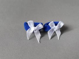 Baby elastiekje met strikje (fel blauw/wit)